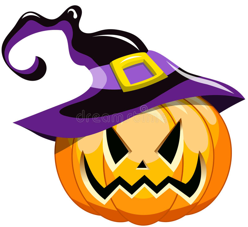 Шляпа ведьмы тыквы хеллоуина шаржа иллюстрация штока