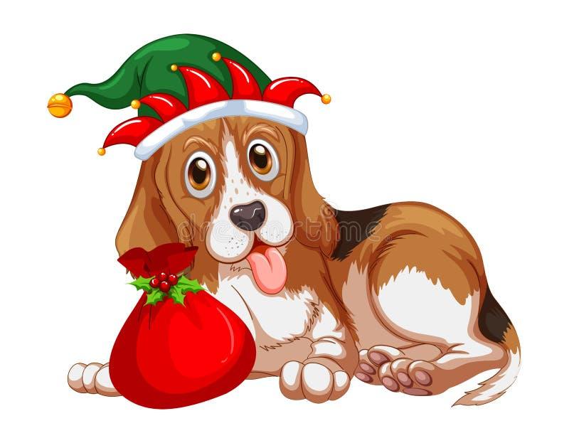 Шляпа партии собаки темы рождества нося бесплатная иллюстрация