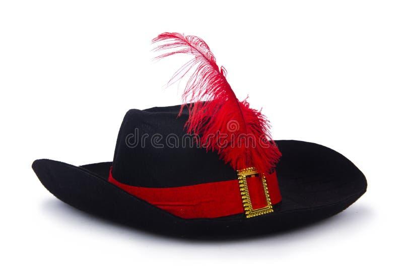 Шляпа пирата на белизне стоковое фото
