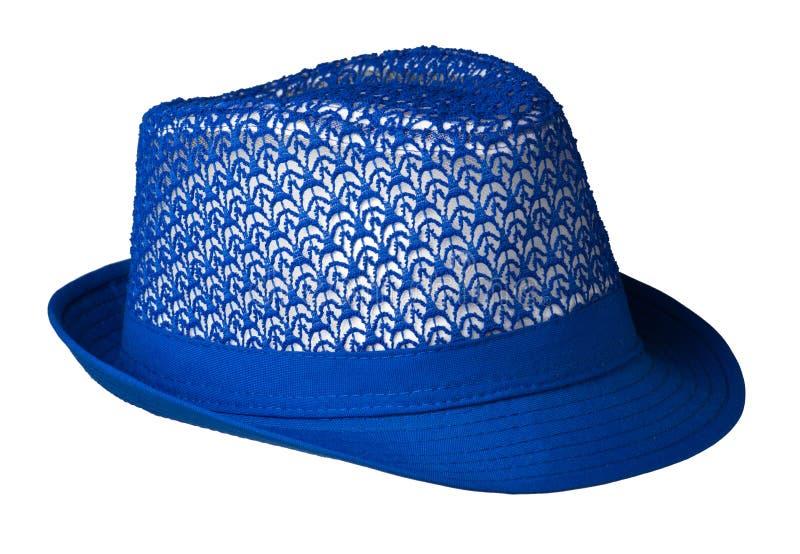шляпа с brim белизна предпосылки изолированная шлемом голубой шлем стоковое фото
