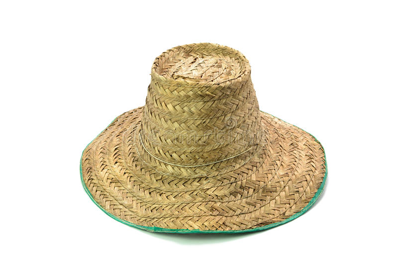 Шляпа тайского фермера старая сделанная сплетенного бамбука на белой предпосылке стоковое фото