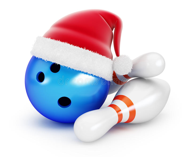 Шляпа santa шарика боулинга на черной предпосылке иллюстрация вектора