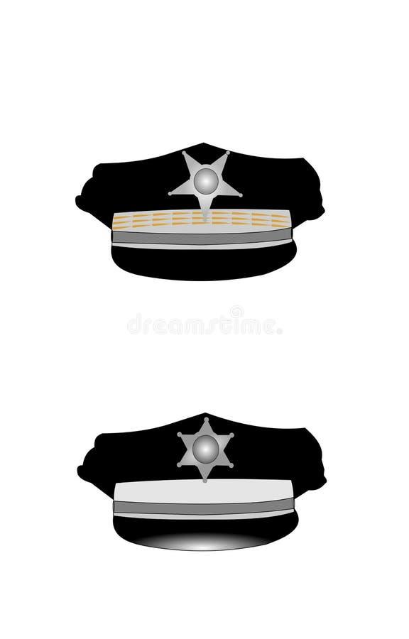 Шляпы полиции с значками иллюстрация вектора