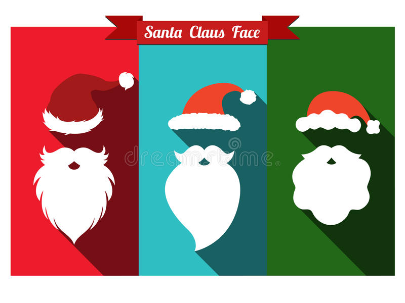 Шляпы Санта Клауса и значки бород плоские с длинной тенью иллюстрация вектора
