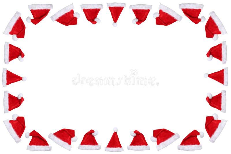 Шляпы шляпы Санта Клауса на космосе экземпляра copyspace рамки рождества выигрывают стоковое фото