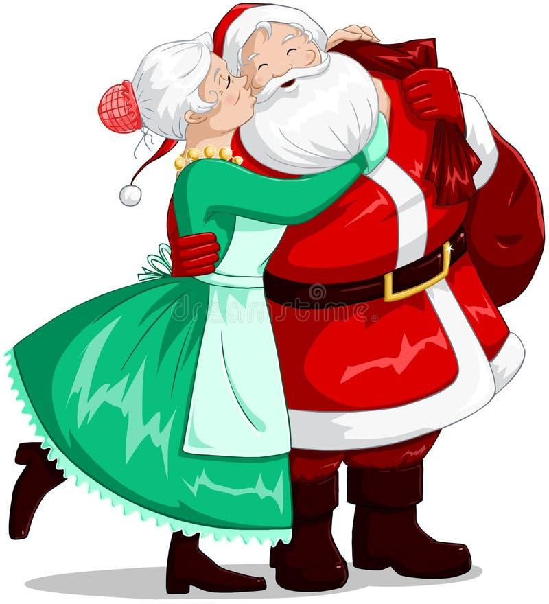 Щека и Hugs Mrs Claus Целовать Санта На иллюстрация вектора
