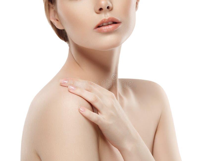 Щеки подбородка носа губ плеча шеи женщины стоковые фотографии rf