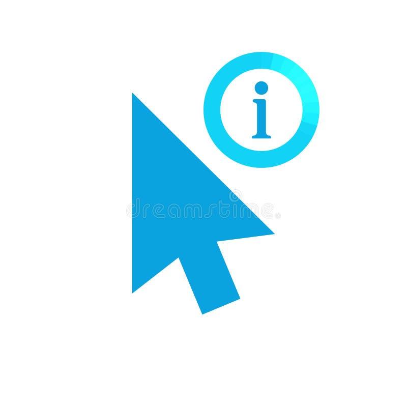 Щелкните значок вектора, символ курсора с знаком информации Значок стрелки курсора и около, Ч.З.В., помощь, символ намека бесплатная иллюстрация
