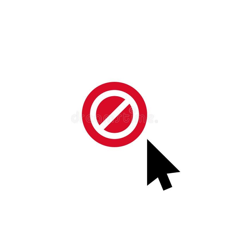 Щелкните значок вектора, символ курсора с позволенным знаком Запрещенные значок и блок стрелки курсора, запрещают символ бесплатная иллюстрация