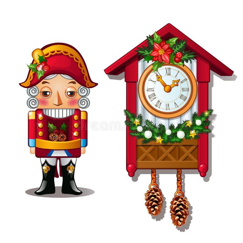 Щелкунчик и античные часы с кукушкой изолированные на белой предпосылке также вектор иллюстрации притяжки corel иллюстрация штока