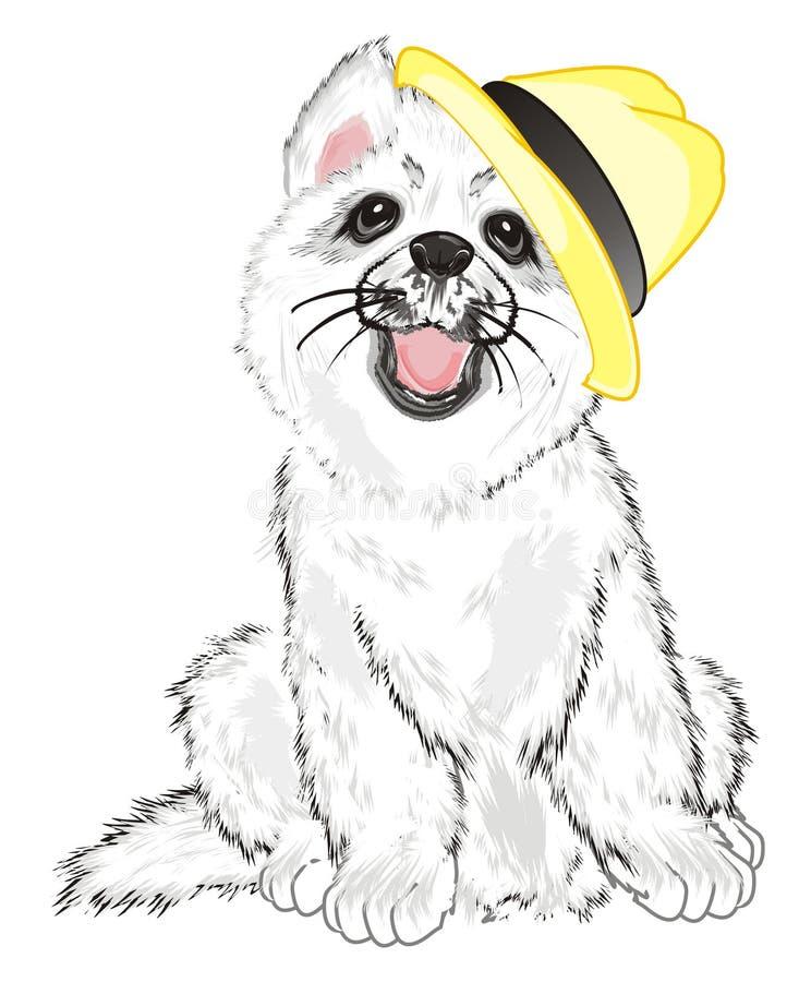 Щенок в шляпе лета иллюстрация штока