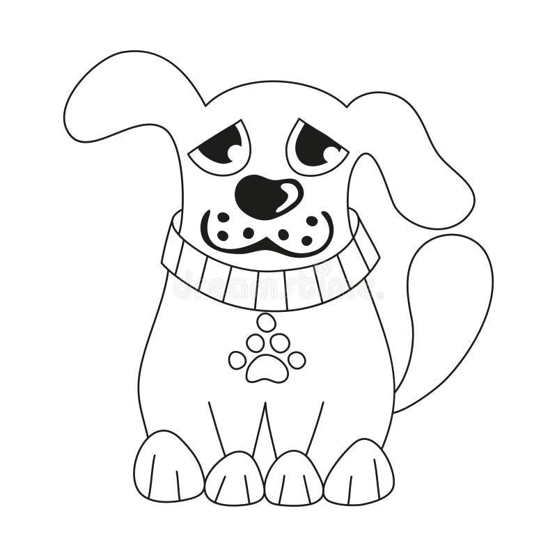 Щенок шаржа, страница книжка-раскраски для детей иллюстрация вектора