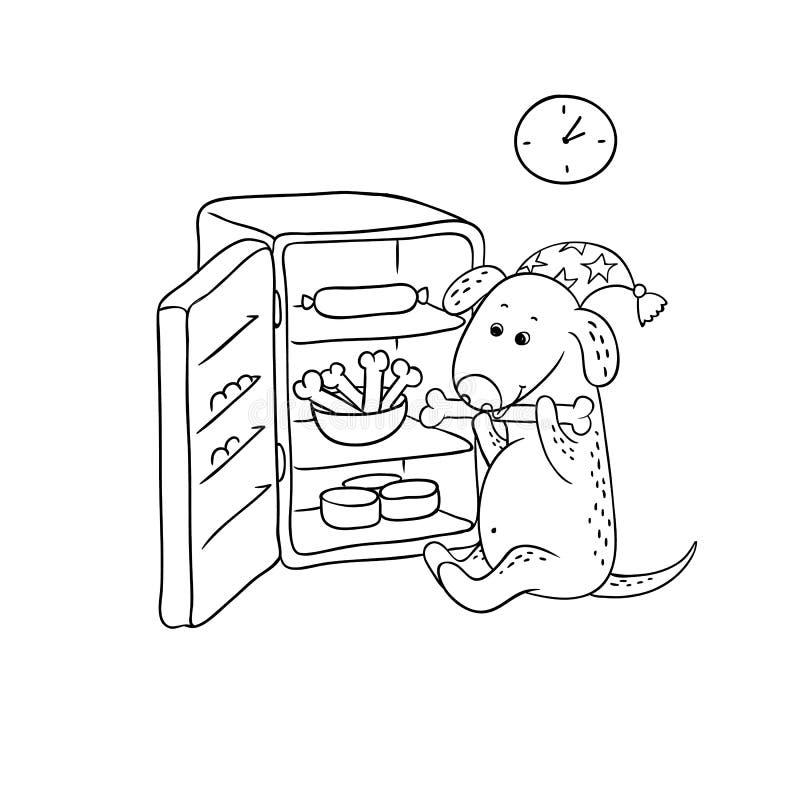 Щенок шаржа черно-белого эскиза вектора смешной Собака характера голодная в крышке ночи сидит открытым холодильником на ноче иллюстрация вектора