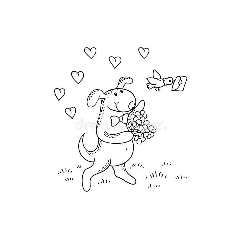 Щенок шаржа черно-белого эскиза вектора смешной Характер собаки идет на дату с букетом цветков Почтовое иллюстрация штока