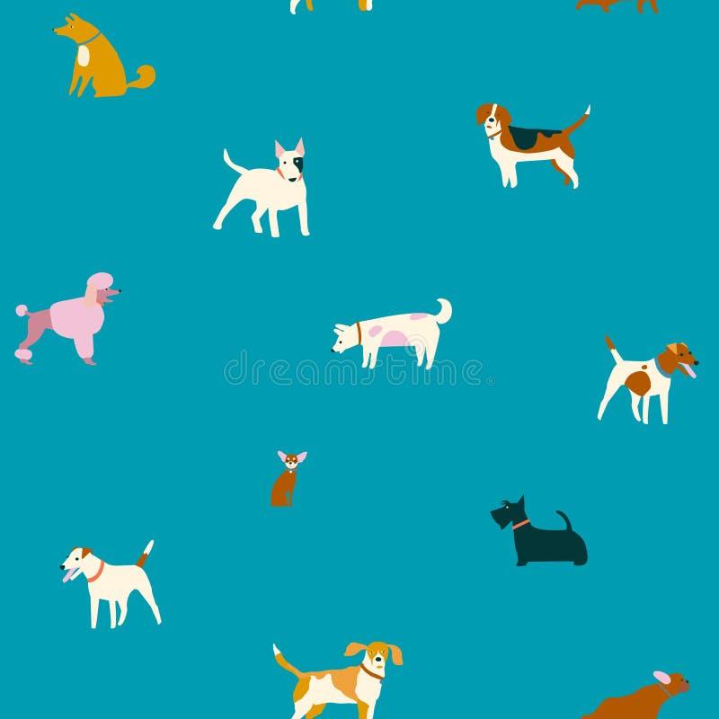 Щенята выслеживают безшовную картину в векторе Порода иллюстрации собак в векторе стоковая фотография