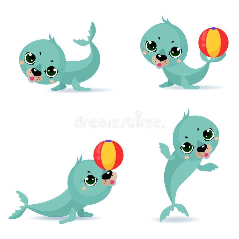 Щенята морского котика больших значков комплекта смешные белые иллюстрация вектора