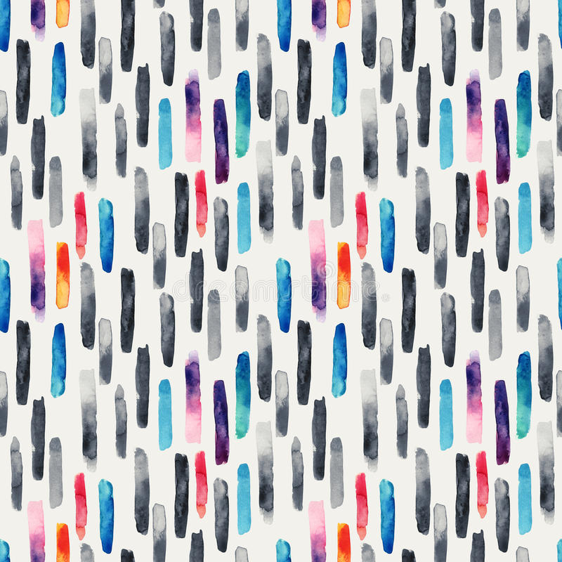 Щетка акварели длинная штрихует предпосылку в monochrome и ярких цветах иллюстрация штока
