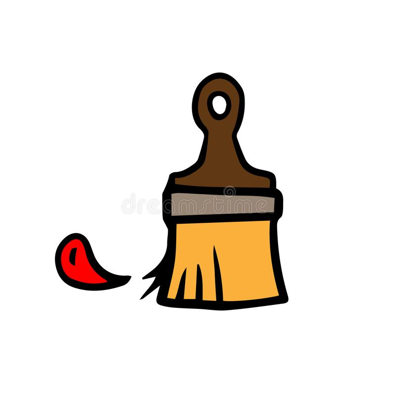 Щетка значка с падением краски, doodle иллюстрация вектора