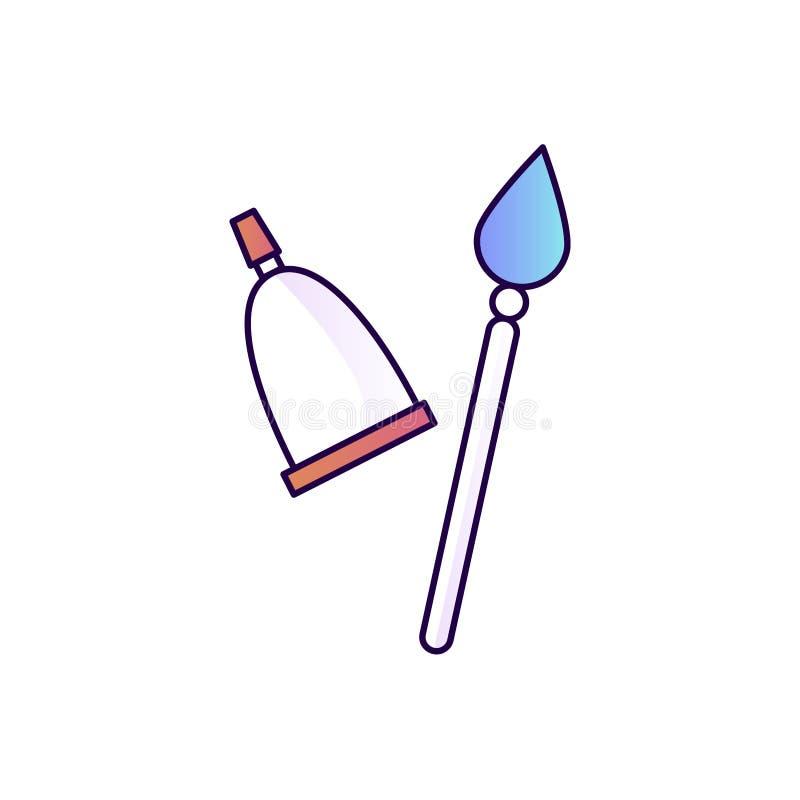 Щетка и краска в иллюстрации трубки Изолированная плоская линия gradien иллюстрация штока