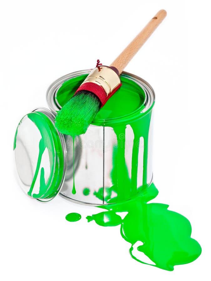 щетка может изолированная капанием белизна краски стоковые фотографии rf