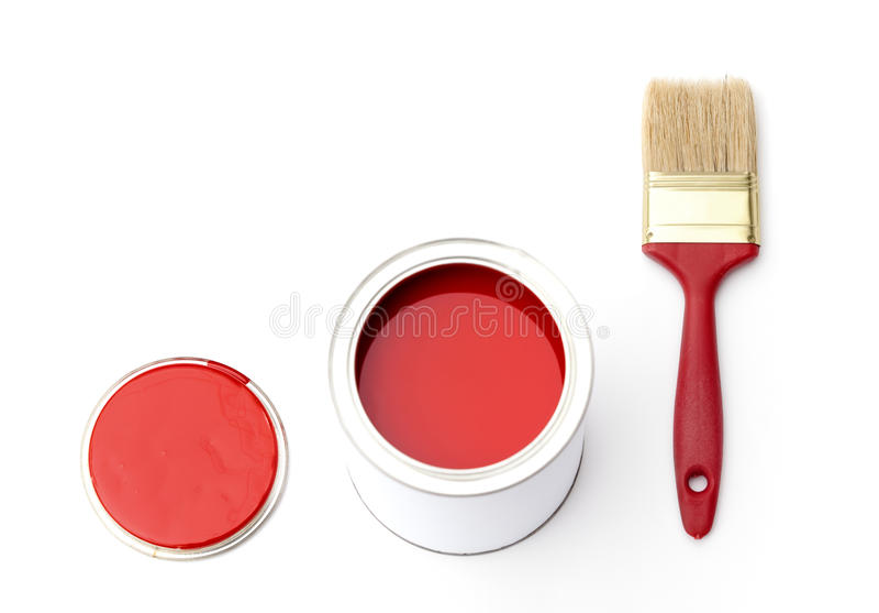 Щетка олова, крышки и краски стоковое фото