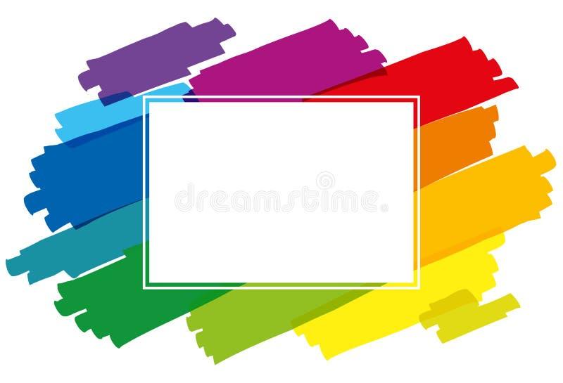 Щетка покрашенная радугой штрихует горизонтальную иллюстрация вектора