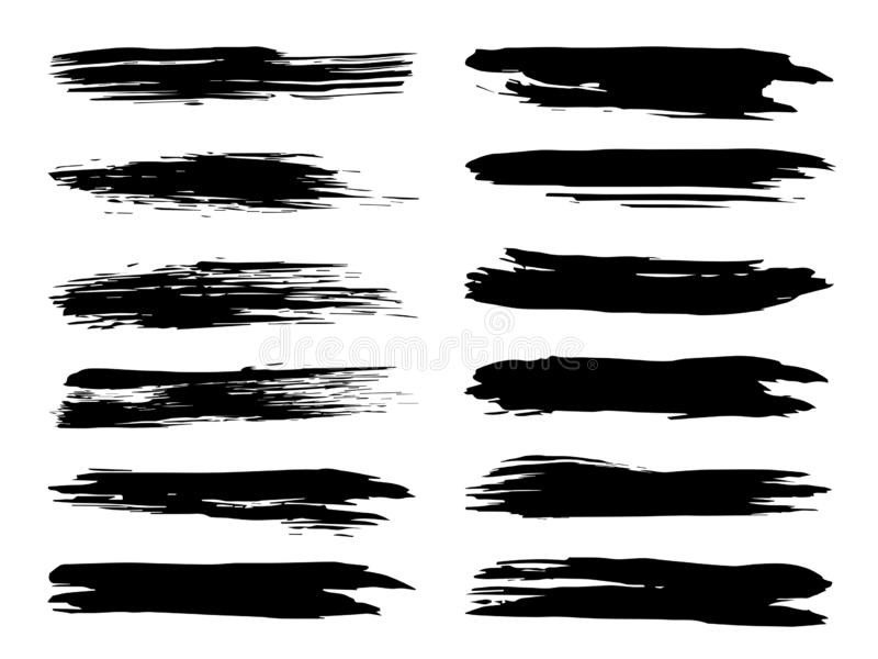 Щетка художественной grungy черной краски ручной работы творческая иллюстрация вектора
