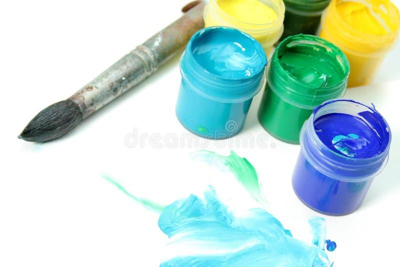 щетка художника красит бумажные инструменты стоковые фото