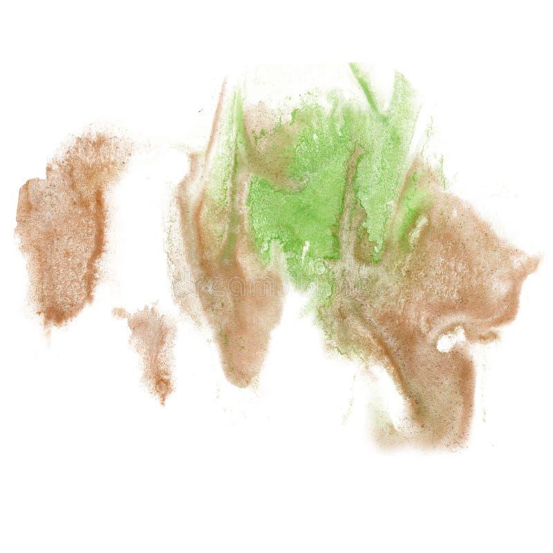 Щетка aquarel watercolour splatter хода чернил цвета коричневого цвета зеленого цвета выплеска краски изолированная акварелью иллюстрация штока