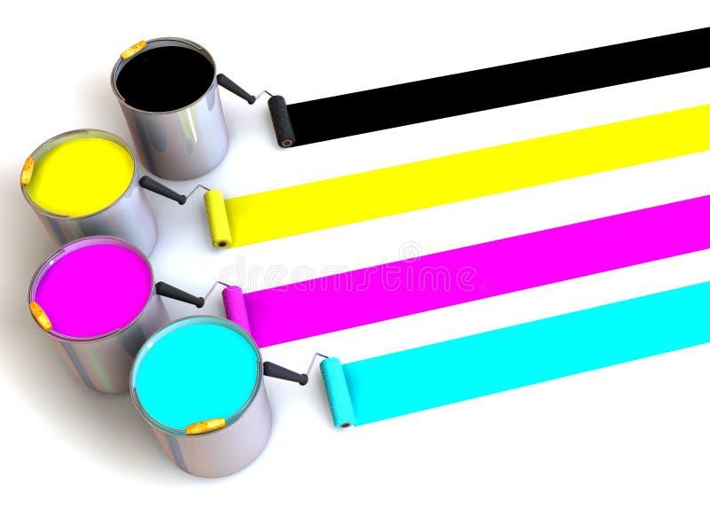 щетка buckets ролики краски иллюстрация вектора