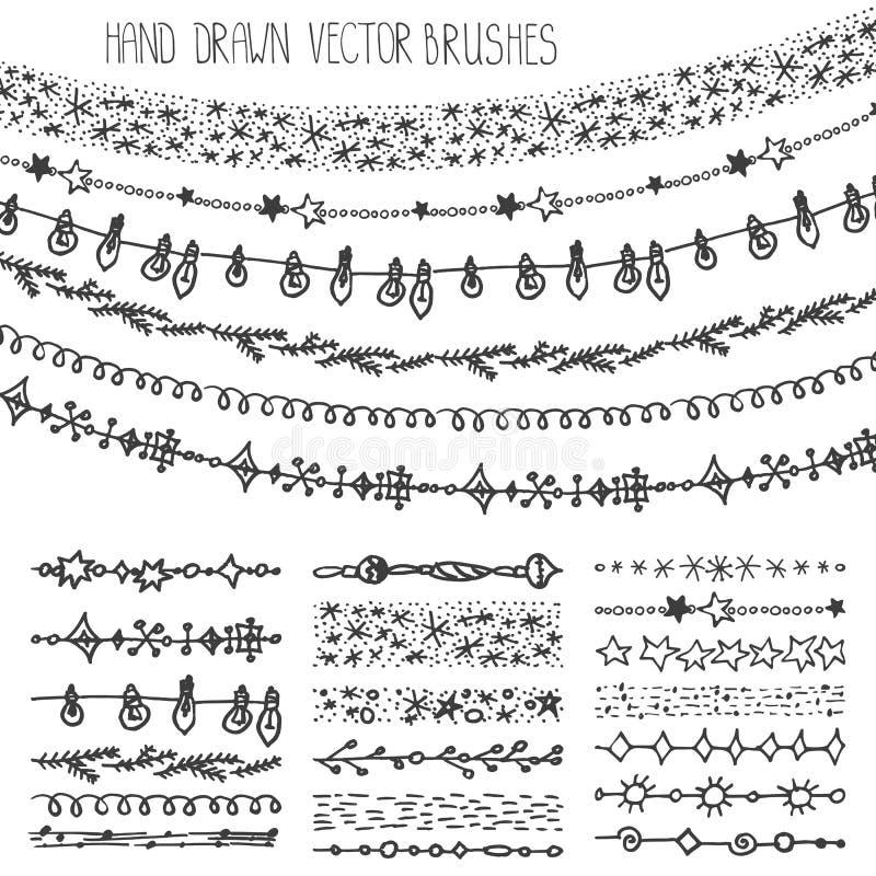 Щетки гирлянды зимы Комплект doodle рождества черный иллюстрация штока