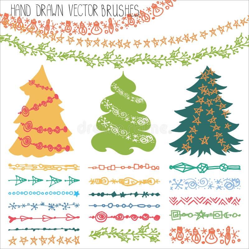Щетки гирлянды праздника Набор doodle рождества иллюстрация штока