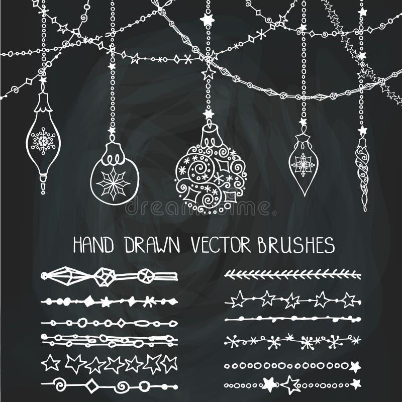 Щетки гирлянды рождества, шарики chalkboard иллюстрация штока
