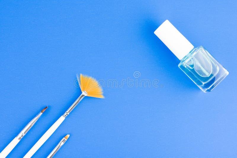 Щетки искусства ногтя и бутылка жидкости заботы ногтя стоковое изображение rf