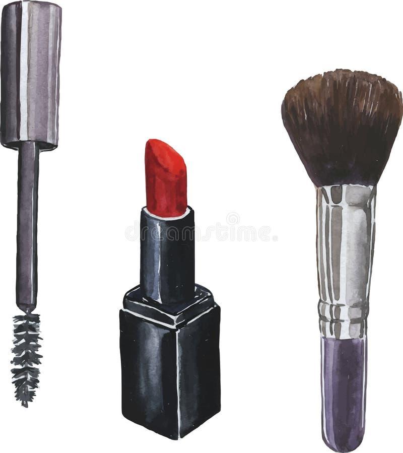 Щетки и набор губной помады Нарисованная рукой иллюстрация акварели иллюстрация штока