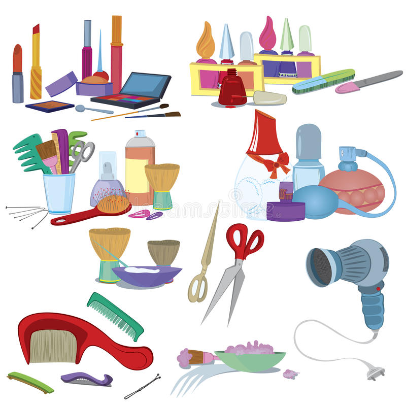 Щетки салона красотки, составляют комплект иконы manicure иллюстрация штока
