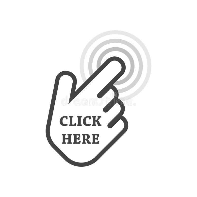 щелкните здесь икону Знаки курсора руки иллюстрация вектора