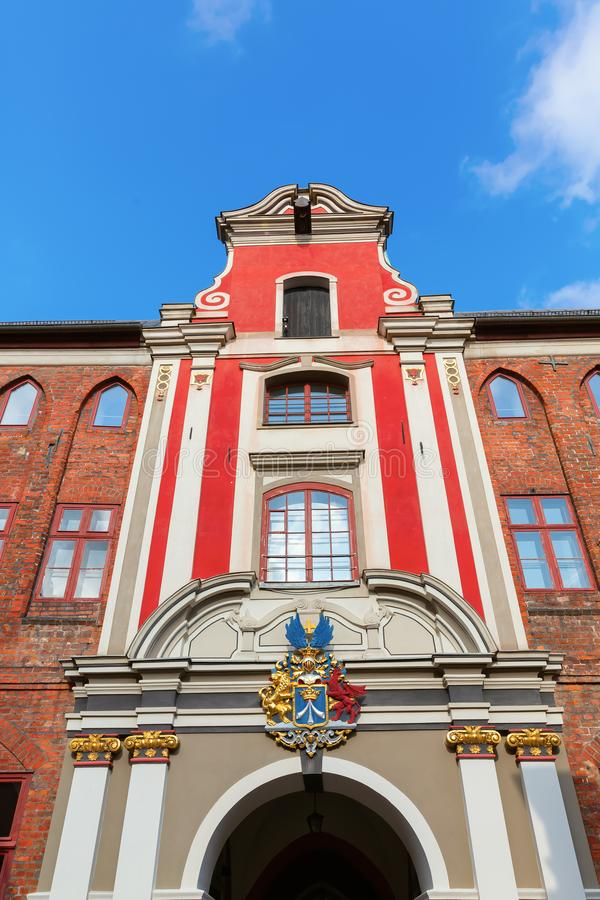 Щипец исторического дома в Stralsund, Германии стоковые изображения