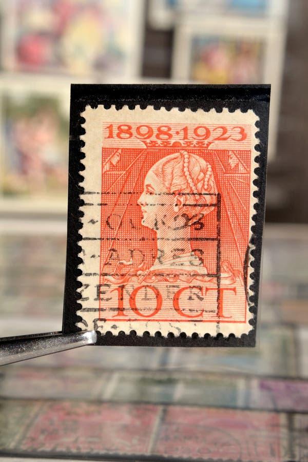 Щипчик держит печать почтового сбора напечатанный Нидерланд на главах государства темы, показывает юбилей царствования ферзя Wilh стоковое изображение