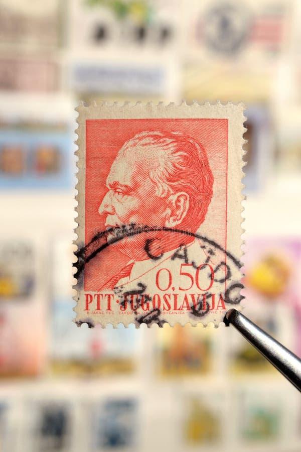 Щипчик держит печать почтового сбора напечатанный Югославией на главах государства темы, показывает президента Josip Broz Tito стоковая фотография