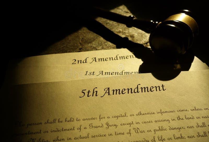 5-ые 1-ые и 2-ые конституционные поправки стоковые фото