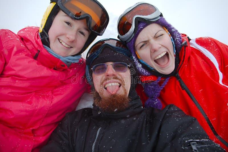 лыжники стоковые изображения rf