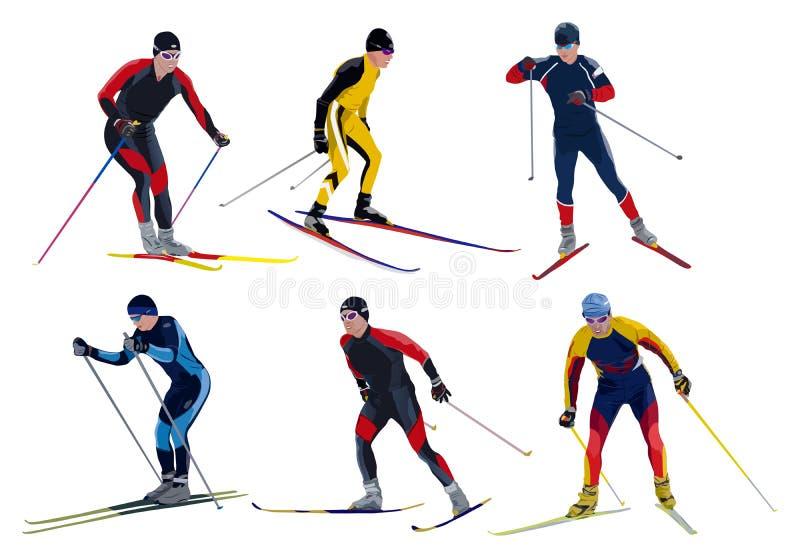 6 лыжников иллюстрация вектора