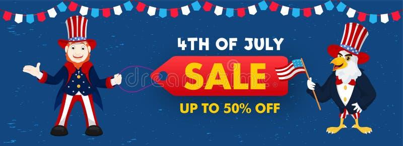 4-ый из заголовка продажи в июле или дизайна знамени с предложением скидки 50%, счастливым характером человека и мультфильмом орл бесплатная иллюстрация