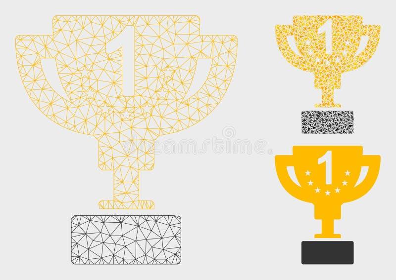 1-ый призовой значок мозаики сетевой модели и треугольника ячеистой сети вектора кубка иллюстрация штока