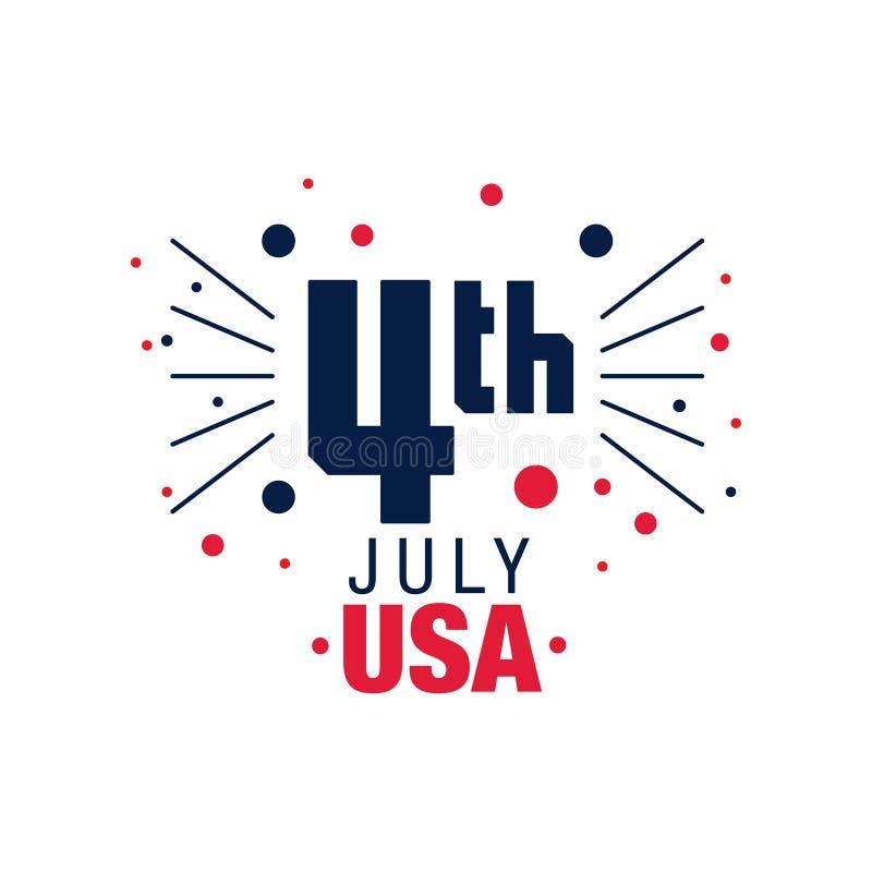 4-ый счастливый июль Первоначально эмблема американского Дня независимости резюмируйте феиэрверк Значок в голубых и красных цвета бесплатная иллюстрация