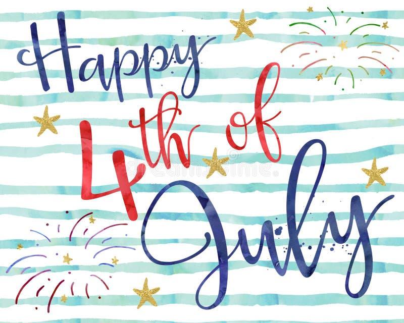 4-ый счастливый июль иллюстрация штока