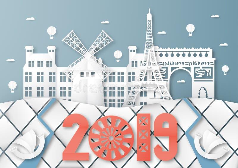 3-ье апреля 2019: Верхние известные ориентир и здание страны Парижа для перемещения и путешествия Дизайн иллюстрации вектора в бу иллюстрация вектора
