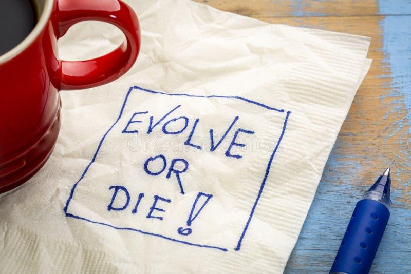 Эволюционируйте или умрите doodle салфетки стоковая фотография rf