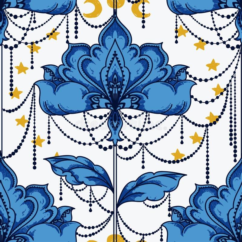 Эзотерическая безшовная картина с цветками, лунами и звездами бесплатная иллюстрация